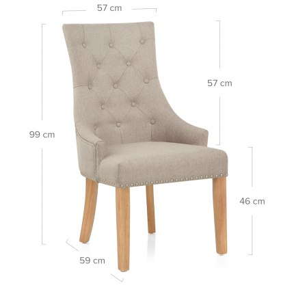 Ascot Oak Dining Chair Tweed Fabric Dimensions