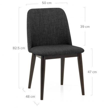 Elwood Walnut Dining Chair Charcoal Fabric Dimensions