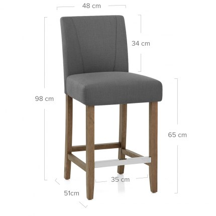 Chartwell Wooden Stool Grey Fabric