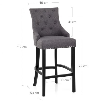 Ascot Bar Stool Charcoal Fabric