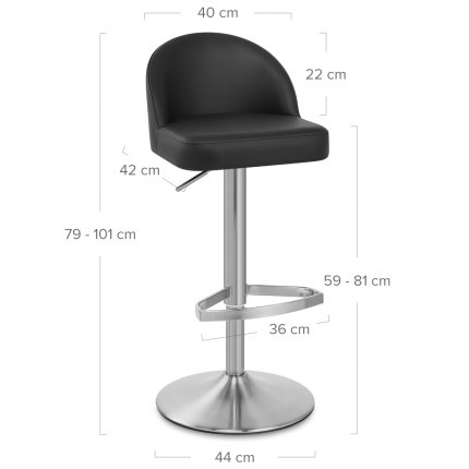 Mimi Real Leather Bar Stool Black