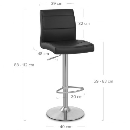 Brushed Steel Breakfast Bar Stool Black Dimensions
