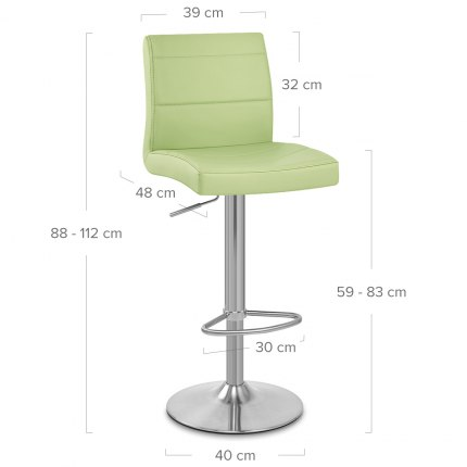 Brushed Steel Breakfast Bar Stool Green Dimensions