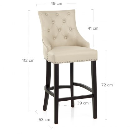 Ascot Bar Stool Cream Leather Dimensions