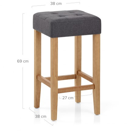 Oliver Oak Stool Charcoal Fabric Dimensions