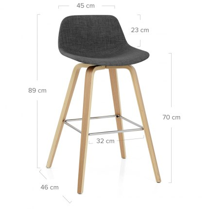 Reef Wooden Stool Charcoal Fabric Dimensions