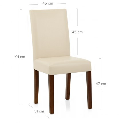 Chicago Walnut Dining Chair Cream