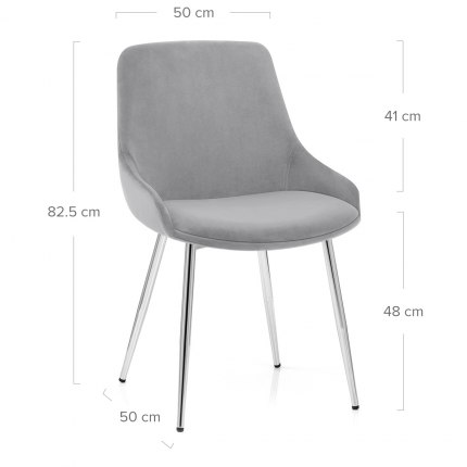 Aston Dining Chair Grey Velvet