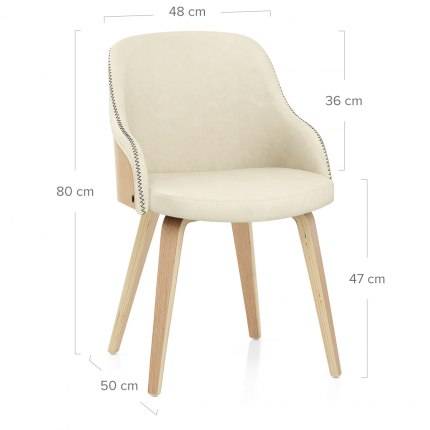 Fusion Oak Chair Cream Dimensions