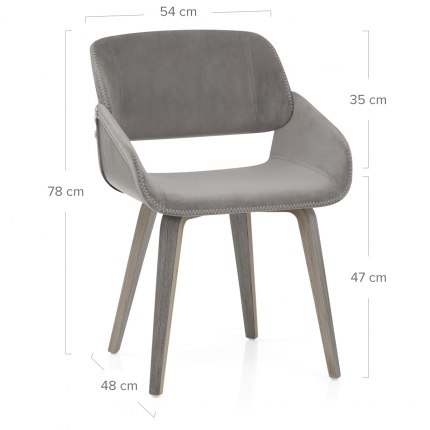 Flint Wooden Chair Grey Velvet