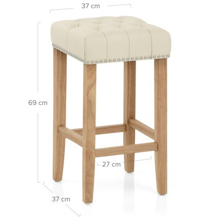 Chelsea Oak Stool Cream Leather Dimensions