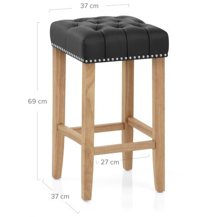 Chelsea Oak Stool Black Leather Dimensions