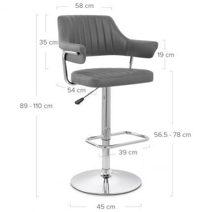 Skyline Bar Chair Grey Dimensions