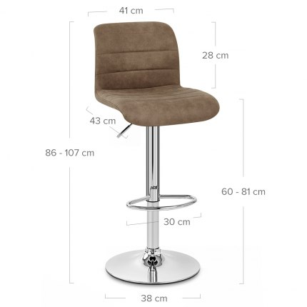 Destiny Stool Brown Suede Dimensions