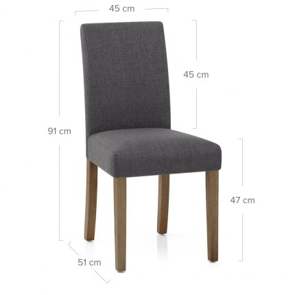 Chicago Oak Chair Charcoal Fabric Dimensions