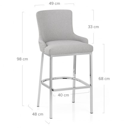 Blush Bar Stool Light Grey Fabric Dimensions