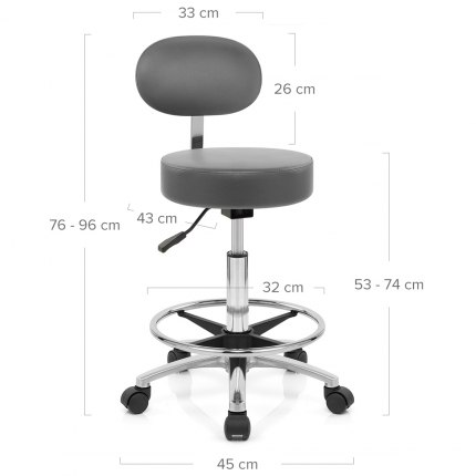 Swivel Stool With Back Grey