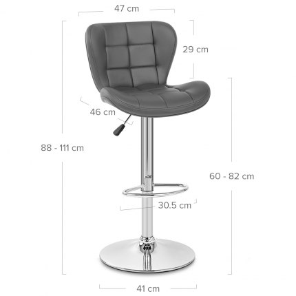 Houston Bar Stool Grey Dimensions