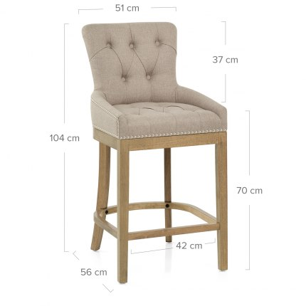 Knightsbridge Oak Stool Tweed Fabric
