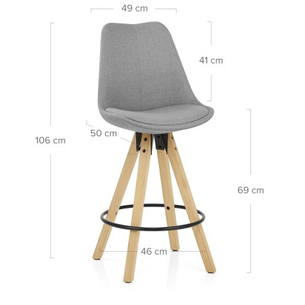 Aero Bar Stool Grey Fabric Dimensions