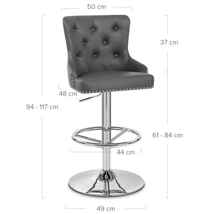 Manor Bar Stool Grey Leather Dimensions