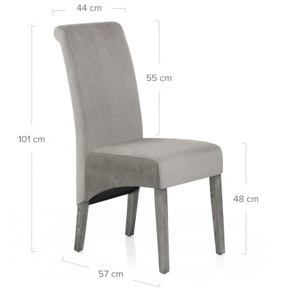 Carlo Grey Oak Chair Grey Velvet
