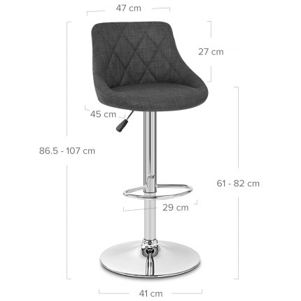 Stitch Bar Stool Charcoal Fabric Dimensions