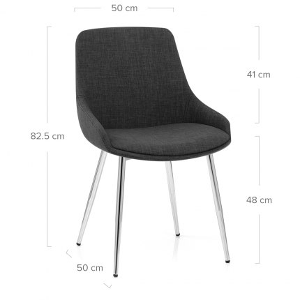 Aston Dining Chair Charcoal Fabric Dimensions