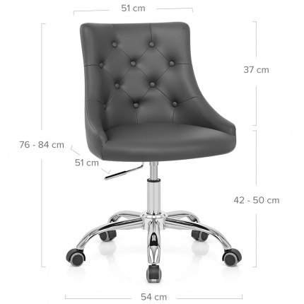 Sofia Office Chair Grey Leather Dimensions