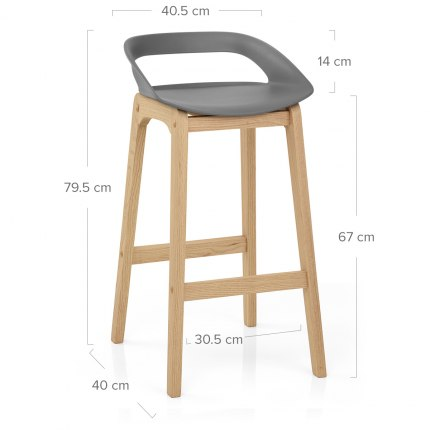 Crew Wooden Bar Stool Grey Dimensions