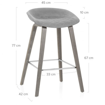 Epic Wooden Stool Grey Velvet Dimensions
