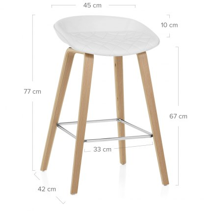 Epic Wooden Stool White Leather Dimensions