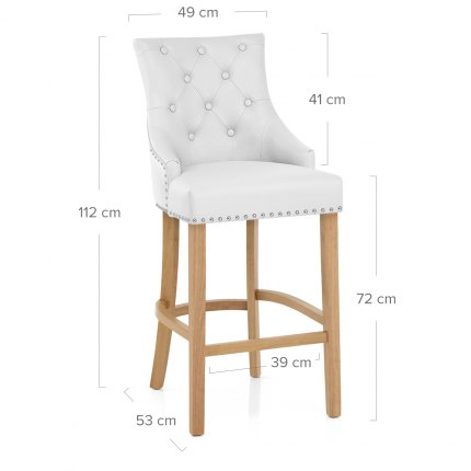 Ascot Oak Stool White Leather