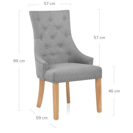 Ascot Oak Dining Chair Grey Fabric