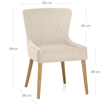 City Oak Chair Cream Velvet Dimensions