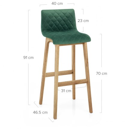 Colt Oak Stool Green Velvet Dimensions