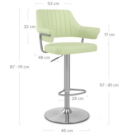 Skyline Brushed Bar Stool Green Dimensions