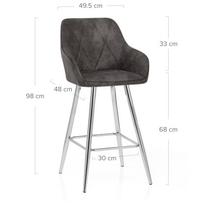 Mason Bar Stool Charcoal Dimensions