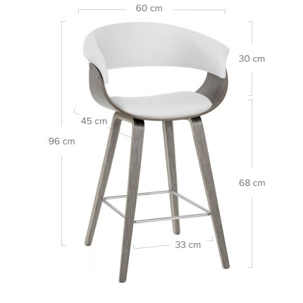 Alexis Wooden Stool White Dimensions