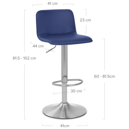 Cape Brushed Steel Stool Blue