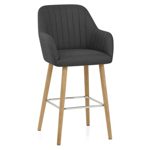 Rio Wooden Stool Charcoal Fabric