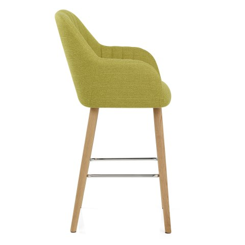 Rio Wooden Stool Green Fabric