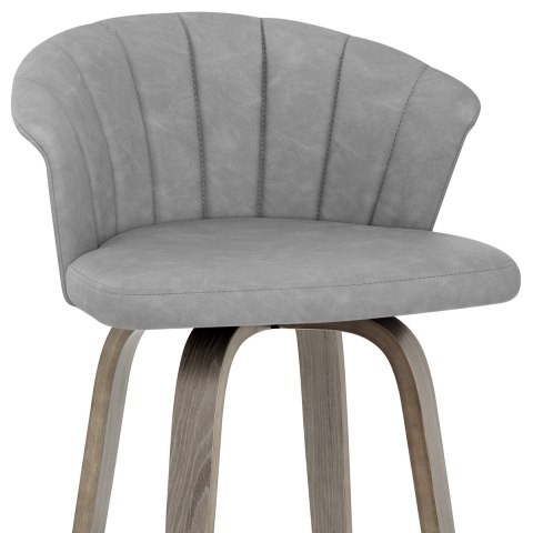 Concerto Wooden Stool Antique Grey Leather