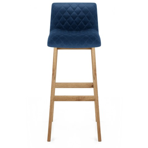 Colt Oak Stool Blue Velvet