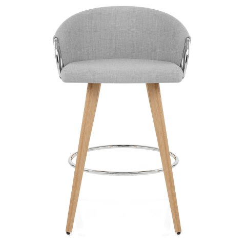 Neo Wooden Stool Grey Fabric