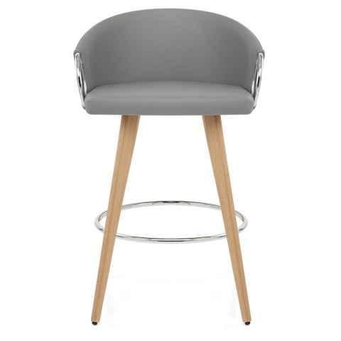 Swell Neo Wooden Stool Grey Leather Camellatalisay Diy Chair Ideas Camellatalisaycom