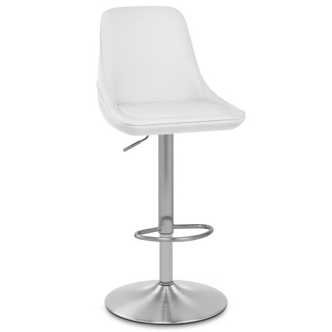 Venice Brushed Steel Stool White
