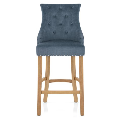 Marvelous Ascot Oak Stool Blue Fabric Beatyapartments Chair Design Images Beatyapartmentscom