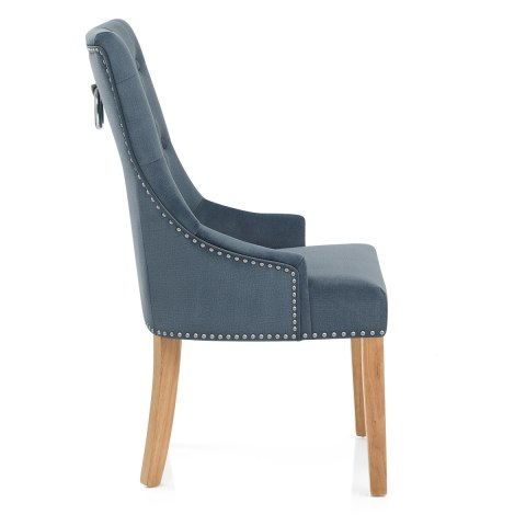 Ascot Oak Dining Chair Blue Fabric