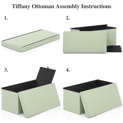 Tiffany Foldable Ottoman Green Fabric